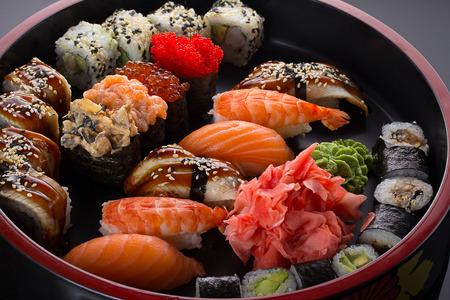 Sushi and nigiri set on round plate