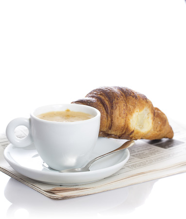 delicious continental breakfast of coffee and croissants isolated on white background Banco de Imagens