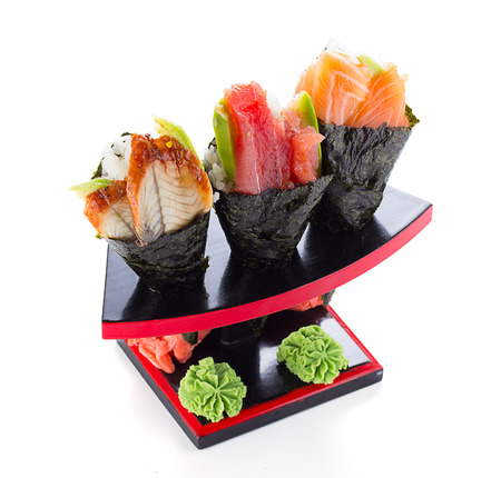 apanese cuisine in the restaurant temaki isolated on white background 版權商用圖片