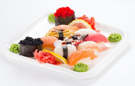 japanesse: Japanesse tasty sushi set isolated on white background
