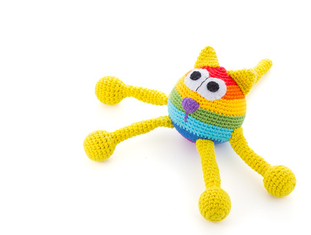 colore: handmade colore cat dol isolated on white background Stock Photo