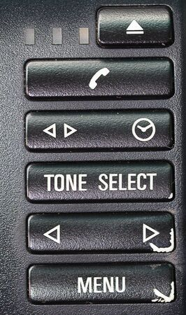 hands free: buttons in the car. Phone. Hands free. Stock Photo