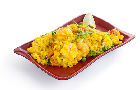 rice plate: Shrimps in curry sauce with rice isolated on white background