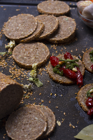 canapes: italian canapes set over rustic background Stock Photo