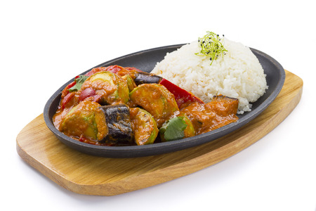 japanese cookery: Rice and vegetables. Vegetarian food. Isolated on white background.