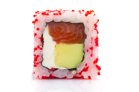 speciality: Closeup of roll with red tobiko ( caviar ) isolated on white background