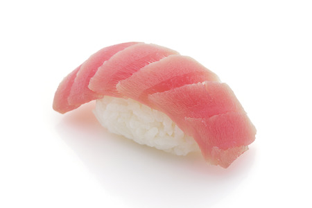 makki: Japanese cuisine. Tuna sushi nigiri isolated on white background.
