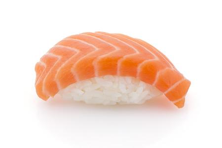 makki: Japanese cuisine. Salmon sushi nigiri isolated on white background.