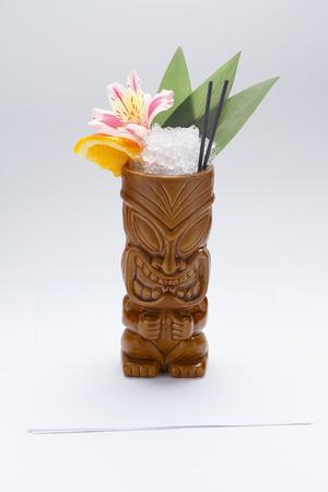 tiki: Tropical drinks served on tiki mugs