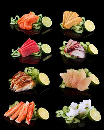 Sashimi set (salmon, tamago, tuna, octopus, eel, perch, shrimp) over black background