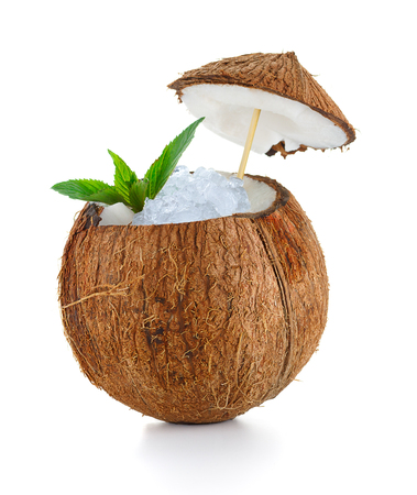 coconut cocktail with ice isolated on white background 版權商用圖片