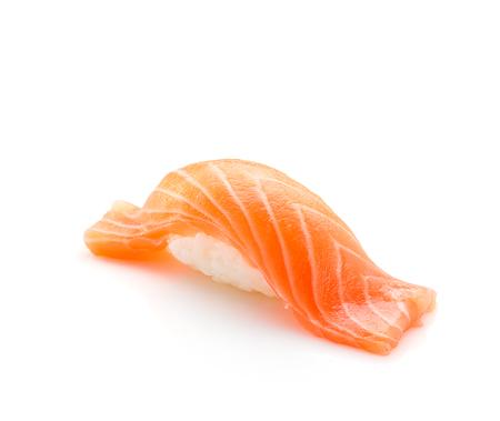 susi: Japanese cuisine. Salmon sushi nigiri isolated on white background.