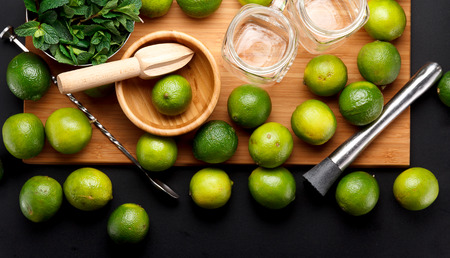 Lime is ready for juicing on a black table