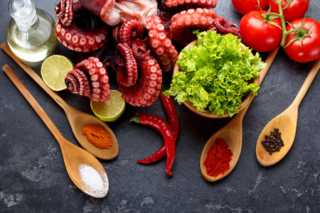 Freshly prepared octopus with vegetables and spices in wooden spoones over dark stone background