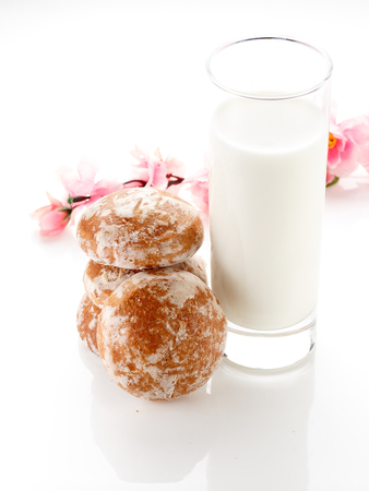 gingerbread and milk isolated on white background.