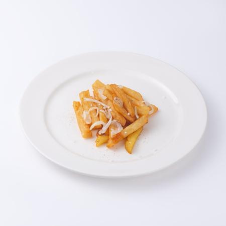 Sliced potatoe fries isolated on white background.