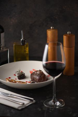 Delicious grilled steak. Restaurant.