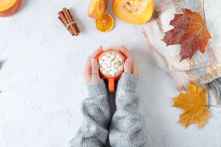 Top view composition with woman's hands in sweater, pumpkins, cup of hot drink with marshmallows and autumn themed decoration, fallen leaves and cinnamon on white background. Flat lay, copy space Фото со стока