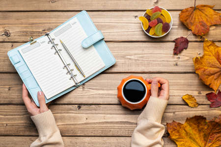 Top view composition with woman's hands in sweater, pumpkin styled cup of coffee and autumn themed decoration, fallen leaves and notebook on wooden background. Flat lay, copy space. Banque d'images