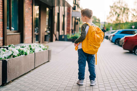 Back to school. Cute child with backpack going to school. Boy pupil with bag. Elementary school student going to classes. Kid walking outdoors on the city street after class. Back view