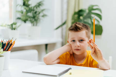 Distance learning online education. Caucasian smile kid boy studying at home with book, writing in notepad and doing school homework. Thinking child siting at table with notebook. Back to school.