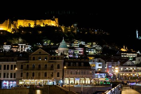 landscape of old Tbilisi at night