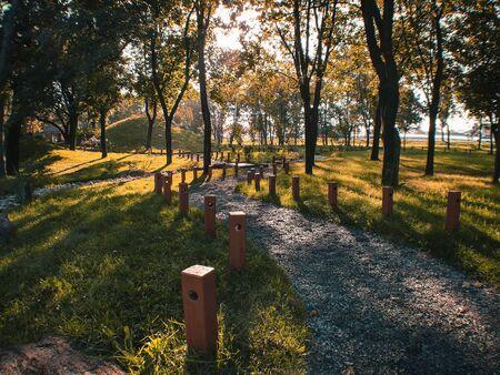 Morning autumn park with sun rays