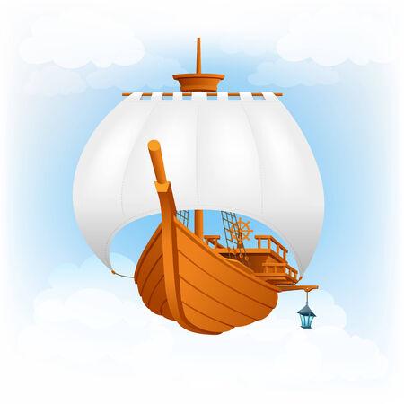 sailer: Sailing ship, flying ship vector illustration