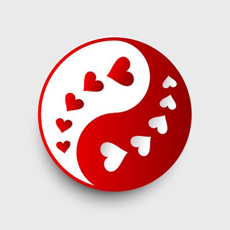 yin y yang: Yin Yang - rojo y blanco con corazones - ilustración vectorial