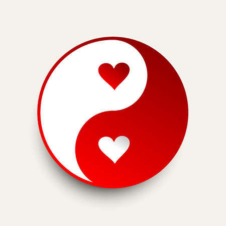 daoism: Yin Yang - Red and White with hearts - vector illustration