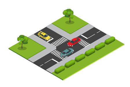 Kreuzungen und Straßenmarkierungen isometrische Vektor-Illustration für Infografiken. Transport Auto, Stadt- und Asphalt, Verkehr. Crossing Roads.