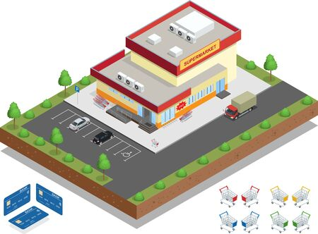 distribution: Supermarket exterior. The supermarket with parking and shopping carts. Retail trade. Credit Cards. Vector isometric illustration.
