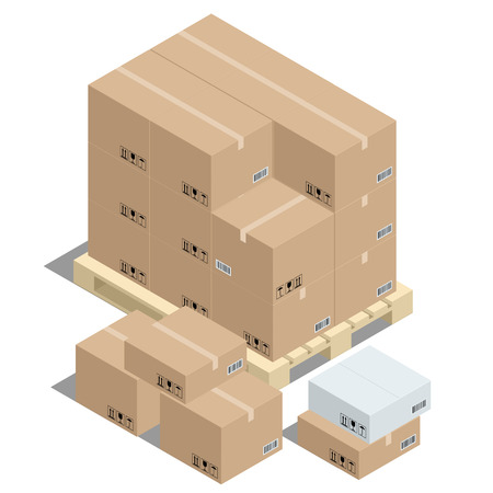 corrugated cardboard: Group of stacked corrugated cardboard boxes on wooden shipping pallets and cardboard boxes.