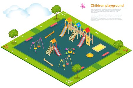 sandpit: Children playground. Isometric vector illustration for infographics. Swing carousel sandpit slide rocker rope ladder bench. Illustration
