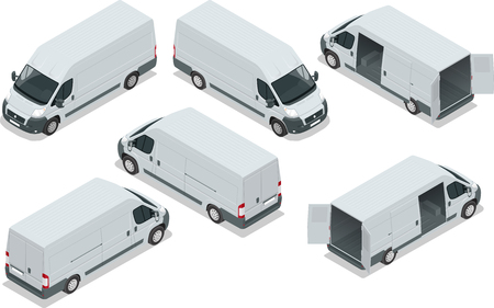 Truck for transportation cargo. Van for the carriage of cargo. Delivery car. Vector isometric illustration. Set of icons. Ilustração