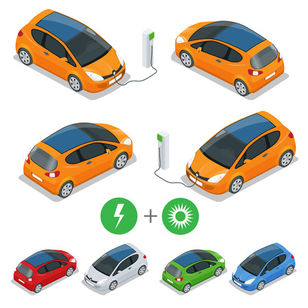 green fuel: Electric car with Solar Panels. Eco car. Isometric vector illustration.