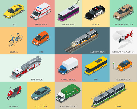 Mieszkanie 3d zestaw ikon transportu izometrycznym miasta.