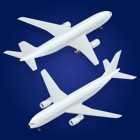airplane wing: Airplane. Flat 3d isometric high quality transport - passenger plane . Illustration