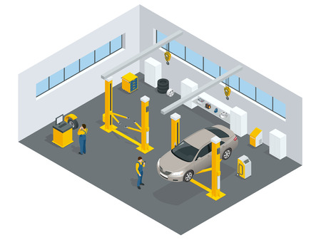 car brake: Auto mechanic service. Service station. Flat icons of maintenance car repair and working.