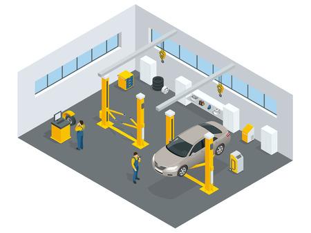 servizio di meccanico auto. Stazione di servizio. le icone piane di manutenzione riparazione auto e di lavoro. Archivio Fotografico