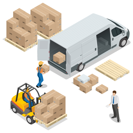 storage facility: Warehouse. Loading and unloading from warehouse. Delivery and logistic, storage and truck, transportation industry.