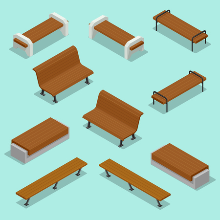 Bench. Outdoor park benches. Wooden benches for rest in the park. Flat 3d isometric illustration for infographics.