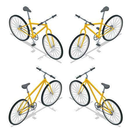 niños en bicicleta: Bicicletas ilustración isométrica. transporte de viaje. Nueva bicicleta aislada sobre un fondo blanco.