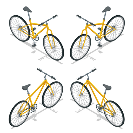 profile silhouette: Bicycle isometric illustration. Travel transport. New bicycle isolated on a white background.
