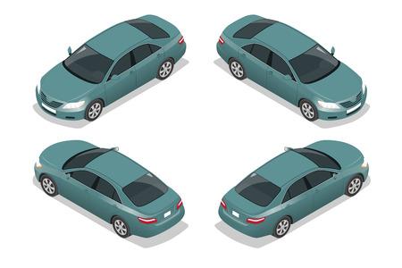 ブルーのセダン車。フラット等尺性の高品質シティ交通機関アイコンを設定。車両コレクション