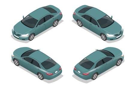 Blue Sedan Car. Flat isometric high quality city transport icon set. Vehicles Collection