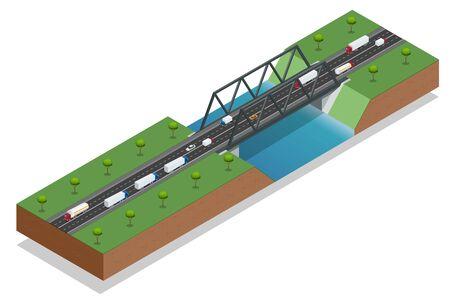 pont isométrique sur la rivière. Transport commercial. voiture de camion. Différents types de charge et de la cargaison. Logistique. éléments cartographiques de bande dessinée Fun