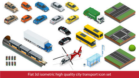 Isometric high quality city transport icon set Vector isometric illustration