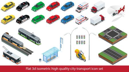等尺性の高品質シティ交通機関アイコンを設定。  イラスト・ベクター素材