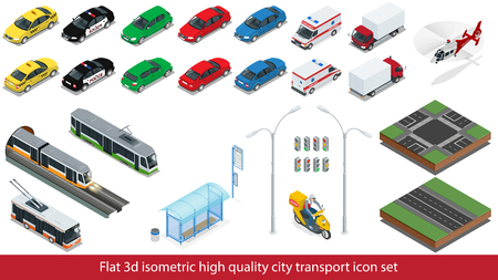 Isometric high quality city transport icon set. Vectores